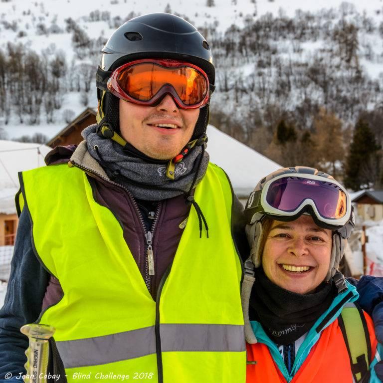 Ski 2018 à Valloire_Arnaud, skieur déficient visuel, et sa guide Ysabelle