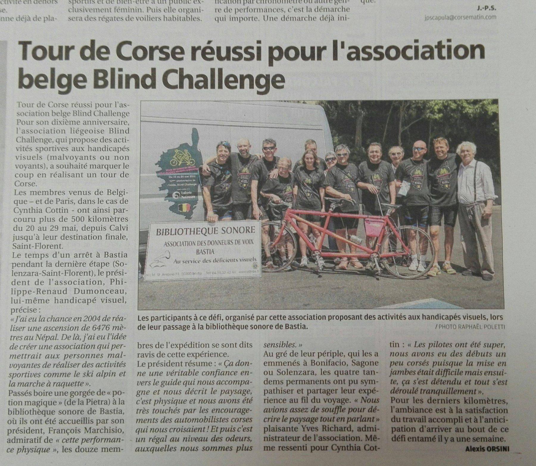Tour de Corse 2016 en tandem_article de Corse Matin